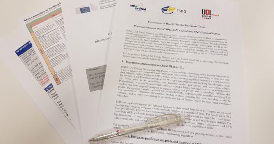 UNI Europa Finance launches joint recommendations on Basel III together with the European Savings and Retail banking Group and SME United