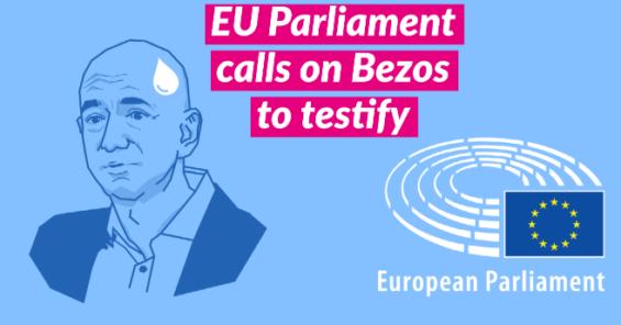The European Parliament calls on Jeff Bezos of Amazon to testify