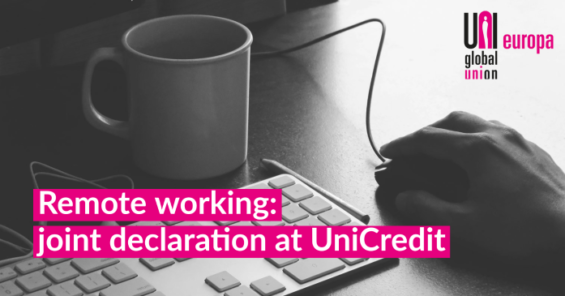 UniCredit European Works Council signs Joint Declaration on Remote Work